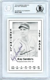 Ray Sanders Autographed 1979 Diamond Greats Card #167 St. Louis Cardinals Beckett BAS #10711620