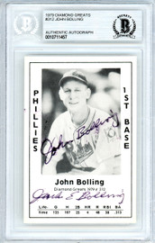 Jack John Bolling Autographed 1979 Diamond Greats Card #312 Philadelphia Phillies Beckett BAS #10711457