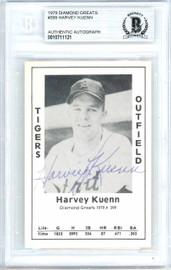 Harvey Kuenn Autographed 1979 Diamond Greats Card #399 Detroit Tigers Beckett BAS #10711121