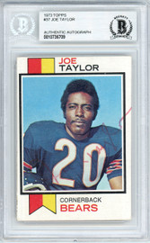 Joe Taylor Autographed 1973 Topps Rookie Card #37 Chicago Bears Beckett BAS #10736709