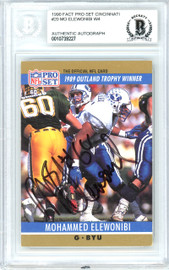 Mohammed Elewonibi Autographed 1990 Pro Set Rookie Card #20 BYU, Redskins Beckett BAS #10739227
