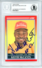 Keith McCants Autographed 1990 Score Rookie Card #617 Tampa Bay Buccaneers Beckett BAS #10739277