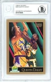 Quintin Dailey Autographed 1990-91 Skybox Card #265 Seattle Super Sonics Beckett BAS #10739340