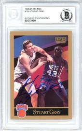 Stuart Gray Autographed 1990-91 Skybox Card #188 New York Knicks Beckett BAS #10739344