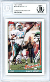 David Griggs Autographed 1991 Topps Rookie Card #128 Miami Dolphins Beckett BAS #10739393