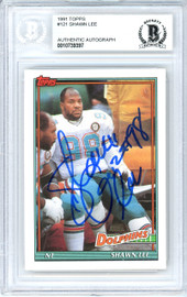 Shawn Lee Autographed 1991 Topps Rookie Card #121 Miami Dolphins Beckett BAS #10739397
