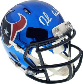 Deshaun Watson Autographed Houston Texans Blue Chrome Speed Mini Helmet Beckett BAS Stock #137900