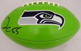Frank Clark Autographed Green Seattle Seahawks Logo Football MCS Holo Stock #137955