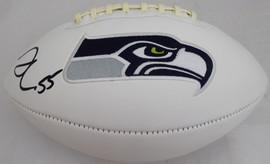 Frank Clark Autographed White Seattle Seahawks Logo Football MCS Holo Stock #137956