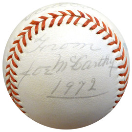 "Joe McCarthy Autographed Official League Baseball New York Yankees ""To Scott Best Wishes"" Beckett BAS #A76425"