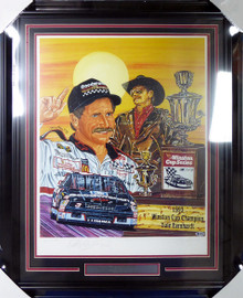 "Dale Earnhardt Sr. Autographed Framed Sam Bass Print Lithograph Photo ""Six Shooter"" Beckett BAS #A88636"
