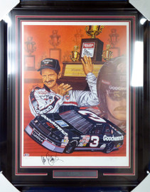 "Dale Earnhardt Sr. Autographed Framed Sam Bass Print Lithograph Photo ""Take Five!"" Beckett BAS #A88618"