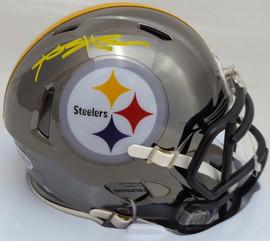 Antonio Brown Autographed Pittsburgh Steelers Black Chrome Speed Mini Helmet Beckett (Smudged) BAS #C28752