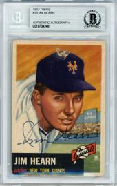 Jim Hearn Autographed 1953 Topps Card #38 New York Giants Beckett BAS #10734248