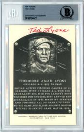 Ted Lyons Autographed Artvue HOF Plaque Postcard Chicago White Sox Beckett BAS #10734472