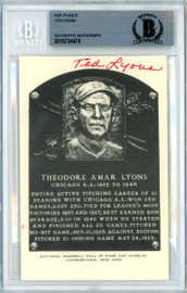 Ted Lyons Autographed Artvue HOF Plaque Postcard Chicago White Sox Beckett BAS #10734474