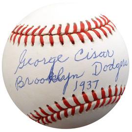 "George Cisar Autographed Official NL Baseball Brooklyn Dodgers ""Brooklyn Dodgers 1937"" Beckett BAS #F26413"