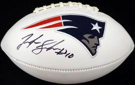 Josh Gordon Autographed New England Patriots White Logo Football Beckett BAS Stock #139560