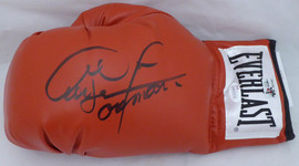 George Foreman Autographed Red Everlast Boxing Glove LH Signed In Black JSA Stock #140634