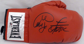 George Foreman Autographed Red Everlast Boxing Glove RH Signed In Black JSA Stock #140635
