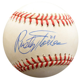 Rusty Torres Autographed Official AL Baseball Cleveland Indians, California Angels Beckett BAS #F27700