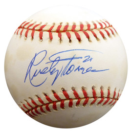 Rusty Torres Autographed Official AL Baseball Cleveland Indians, California Angels Beckett BAS #F27701