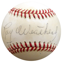 Roy Weatherly Autographed Official NL Baseball New York Yankees, Cleveland Indians Beckett BAS #F27803