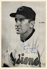 """Al Lopez Autographed 6x8.5 Photo Picture Pack Cleveland Indians """"To Jensen Best Wishes"""" Beckett BAS #F98295"""