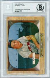 Wally Post Autographed 1955 Bowman Card #32 Cincinnati Reds Beckett BAS #10841777