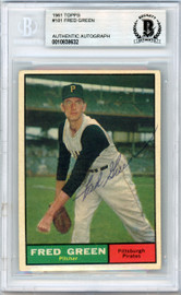 Dick Green Autographed 1961 Topps Card #181 Pittsburgh Pirates Beckett BAS #10838632
