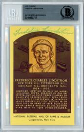 Freddie Lindstrom Autographed HOF Plaque Postcard  Cincinnati Reds, New York Giants Beckett BAS #10837717
