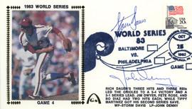 John Denny & Storm Davis Autographed First Day Cover 1983 World Series Beckett BAS #E48733