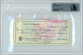 Vince Lombardi Autographed 3x6 Check Green Bay Packers Beckett BAS #10845300