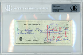 Vince Lombardi Autographed 3x6 Check Green Bay Packers Beckett BAS #10845315