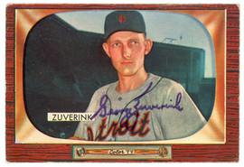 George Zuverink Autographed 1955 Bowman Card #92 Detroit Tigers SKU #144592