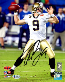 Drew Brees Autographed 8x10 Photo New Orleans Saints SB XLIV Beckett BAS Stock #145157