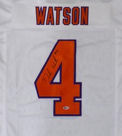 Clemson Tigers Deshaun Watson Autographed White Jersey Beckett BAS Stock #145325