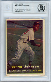 Connie Johnson Autographed 1957 Topps Card #43 Baltimore Orioles Beckett BAS #10982218