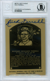 Rick Ferrell Autographed 1984 HOF Metallic Plaque Card Boston Red Sox Beckett BAS #10982500