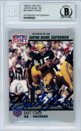 Bart Starr Autographed 1990 Pro Set Card #36 Green Bay Packers Beckett BAS #10982624