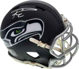 Russell Wilson Autographed Seattle Seahawks Matte Black Speed Mini Helmet In Silver RW Holo Stock #145843