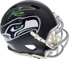 Russell Wilson Autographed Seattle Seahawks Matte Black Speed Mini Helmet In Green RW Holo Stock #145787