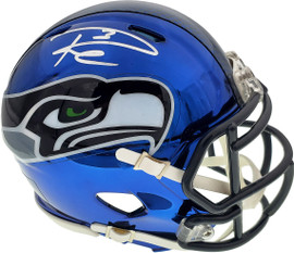 Russell Wilson Autographed Seattle Seahawks Blue Chrome Speed Mini Helmet In Silver RW Holo Stock #145842