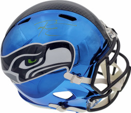 Russell Wilson Autographed Seattle Seahawks Blue Chrome Speed Full Size Replica Helmet In Green RW Holo Stock #145779