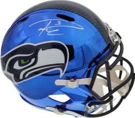 Russell Wilson Autographed Seattle Seahawks Blue Chrome Speed Full Size Replica Helmet In Silver RW Holo Stock #145841
