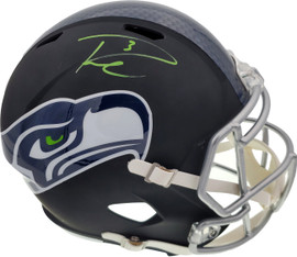 Russell Wilson Autographed Seattle Seahawks Matte Black Speed Full Size Replica Helmet In Green RW Holo Stock #145844