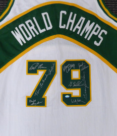 1978-79 NBA Champions Seattle Supersonics Multi Signed Autographed White Jersey With 9 Signatures Including Fred Brown & Lenny Wilkens MCS Holo Stock #145848