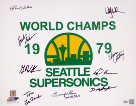 """1978-79 NBA Champions Seattle Supersonics Multi Signed Autographed 16x20 Photo With 9 Signatures Including Fred Brown & Lenny Wilkens """"HOF 89, 98, 10"""" MCS Holo Stock #145853"""
