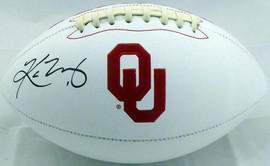 Kyler Murray Autographed Oklahoma Sooners White Logo Football Beckett BAS Stock #145895