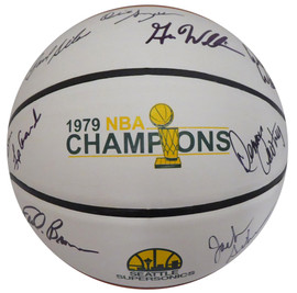 1978-79 NBA Champions Seattle Supersonics Autographed Basketball With 8 Signatures Including Fred Brown & Jack Sikma MCS Holo #70336